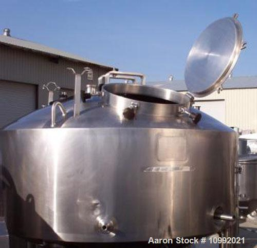 Used- 200 gallon Lee PZ-CP-FV stainless steel single motion scrape agitated kettle with safety grid and 3 hp motor drive, on...