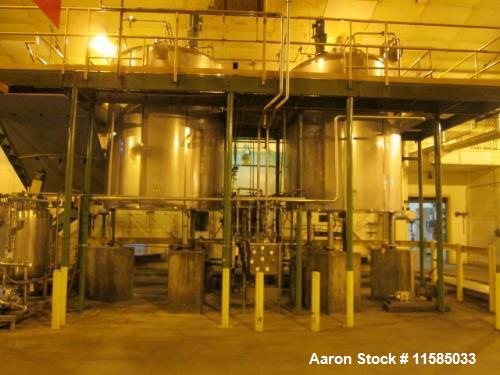 Used- Walker, 3100 gallon, T304 Stainless Steel Sanitary Jacketed Process Vessel. Atmospheric internal at ambient. Jacketed ...