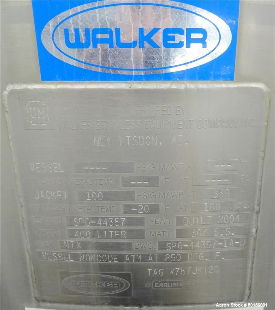 Used- Walker Vertical Kettle, 105.6 Gallon, 304 Stainless Steel