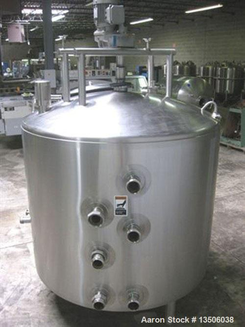 """Used-250 Gallon Walker Processor, model PZ-ST, all stainless steel. 50"""" diameter x 40"""" straight side. Jacket rated 100 psi @..."""