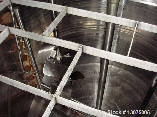 Used-Walker Mixing Kettle, 3000 gallon, 316 stainless steel, jacketed, internal atmos @ 250 deg F, jacket 75 psi @ 250 deg F...