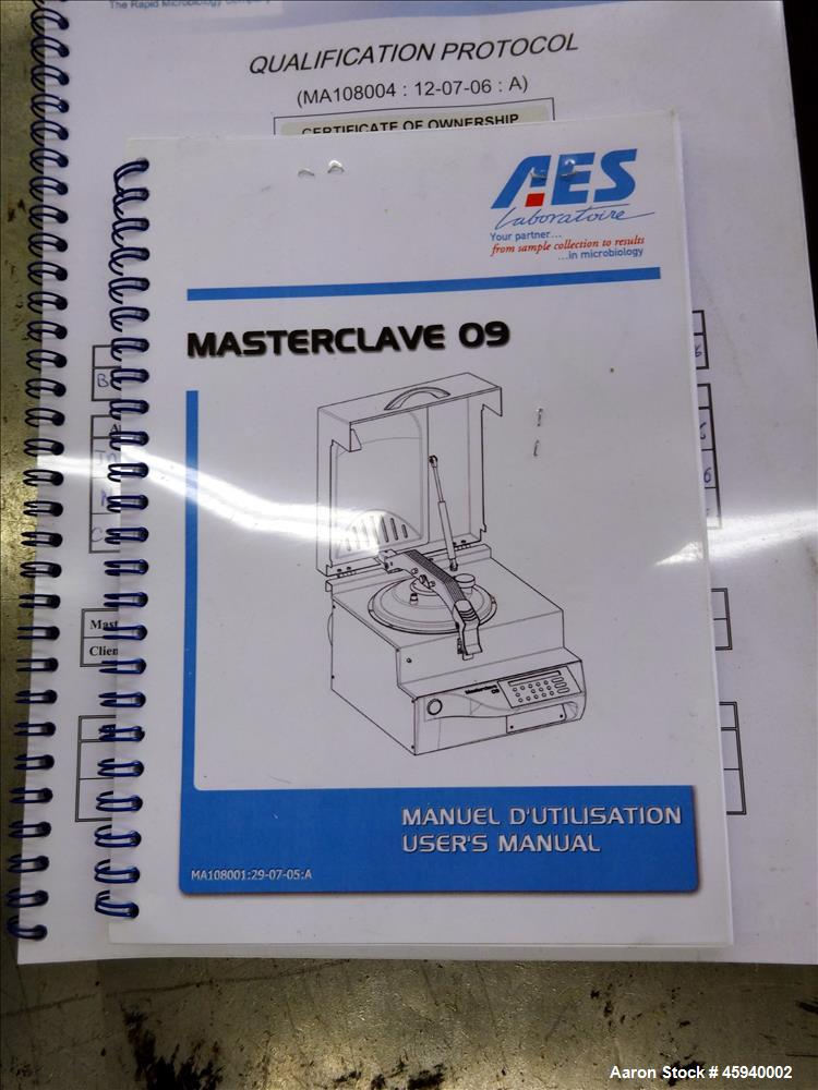 Used- AES Bench top Masterclave, Model Masterclave 09. Capacity 1 to 9 liters. Sterilization temperature 95 - 125 degrees C....