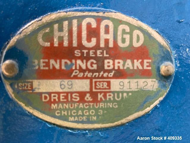 Used- Chicago Universal Steel Box & Pan Brake, Size 69