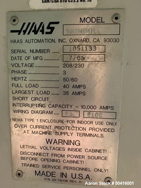 Used- Haas Super Mini-Mill CNC Vertical Mill.