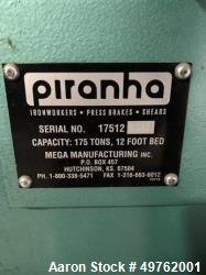Used- Piranha Press Brake, Model 12-190T. 175 ton Capacity