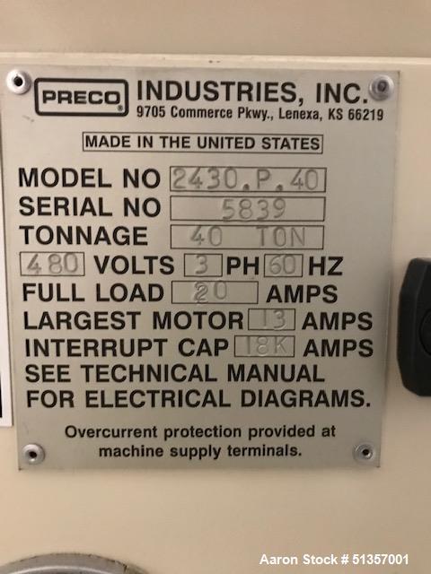 Used- Preco 40 Ton Press Stamping Unit