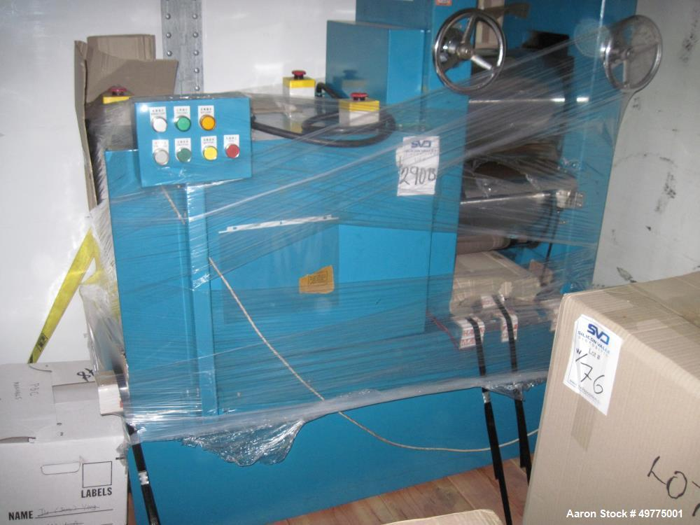Used- Arcotronics Laminator with Conveyor Belts, Model BIE 282D. Stainless steel with a teflon coating on the side in contac...