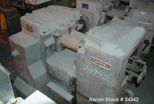 """USED: Farrel 6"""" x 13"""" horizontal two roll mill. Chrome plated cored rolls. Aluminum end guides. Knee safety. Knife scraper a..."""