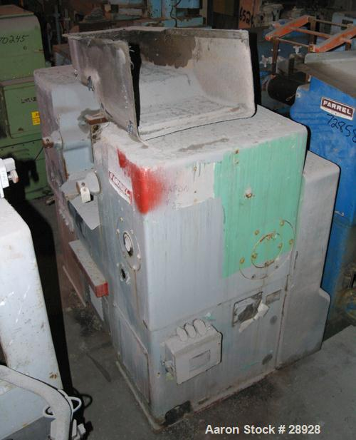 """USED: Farrel horizontal two roll mill. 6"""" x 13"""" cored rolls. Fixed aluminum end guides and mill pan. Knee safeties. Hand-mic..."""