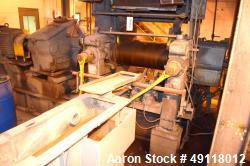 "Used- EEMCO Erie Machine & Manufacturing Horizontal Two Roll Mill, Model 14"" x 14"" x 30"". (2) 14"" Diameter x 30"" wide carbon..."