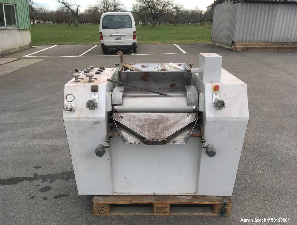 """Used-Buhler 3-Roll mill, type SDX 300/600. 11.7"""" (300 mm) dia. x 23.4"""" (600 mm) st. side rolls. Complete with motor and oper..."""