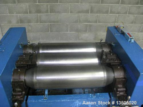 """Used-Ross 9"""" x 24"""" Three Roll Mill. Cored rolls for cooling. Micrometer adjustment for first and third rolls. Missing end gu..."""