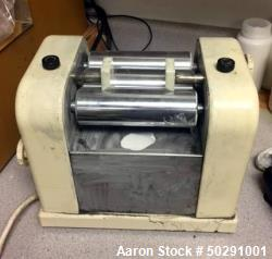 "Used- Lab 3 Roll Mill. Approximate 2"" diameter x 6"" long chrome rolls."