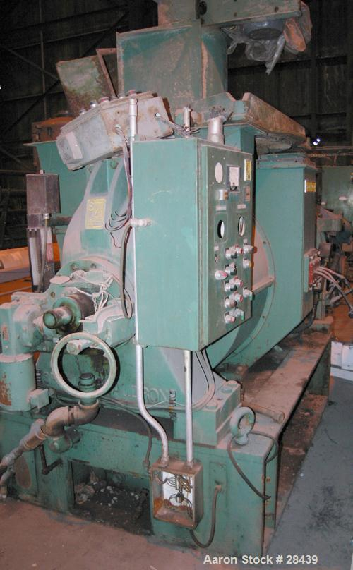 """USED: Sprout Waldron Single Runner Attrition/Disc Mill, Model 36-1B. Stainless steel clad housing 48"""" diameter x 8"""" deep. 36..."""
