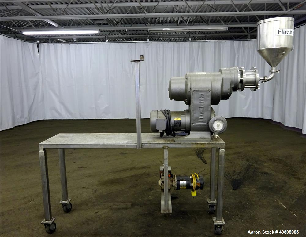 "Used- Colloid Mill, 316 Stainless Steel. Approximate 5-1/2"" diameter chamber. Dual (40) pin rotor. Driven by a Reeves manual..."
