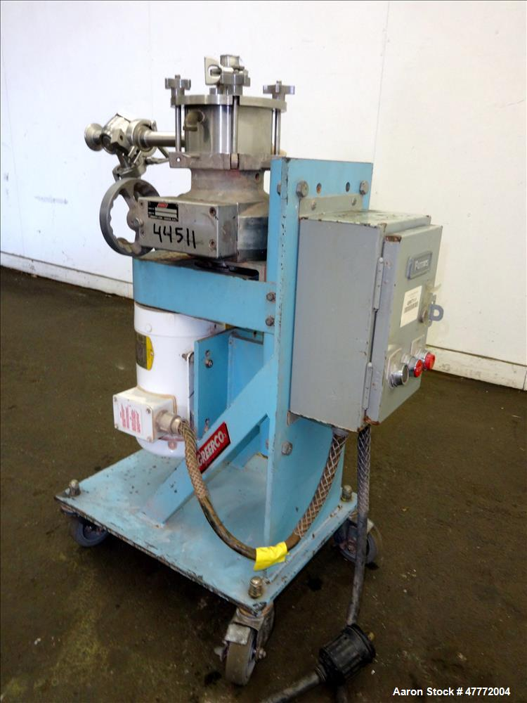 Used- Greerco Vertical Colloid Mill, Model W250VB, 316 Stainless Steel. Jacketed stator housing. Rated approximately 20 gall...