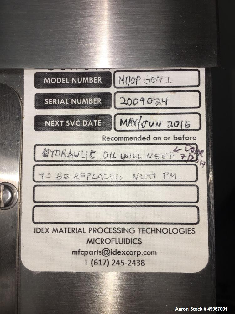 Used- Microfluidics Lab Scale M-110P Microfluidizer