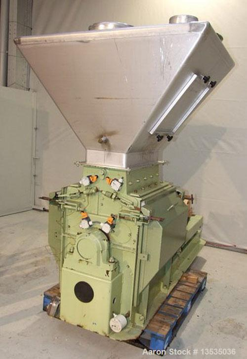 "Used-Buhler Hammer Mill, 112 hammers, carbon steel. Rotor diameter 17.7"" x 21.65"" (450 x 550 mm), opening 23.6"" x 11.8"" (600..."