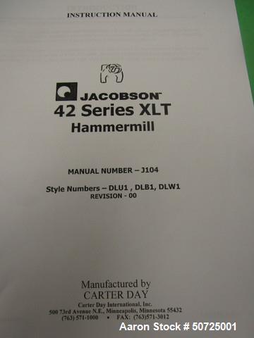 Used- Jacobson Machine Works Inc. Full Circle Hammermill, Model XLT-42326