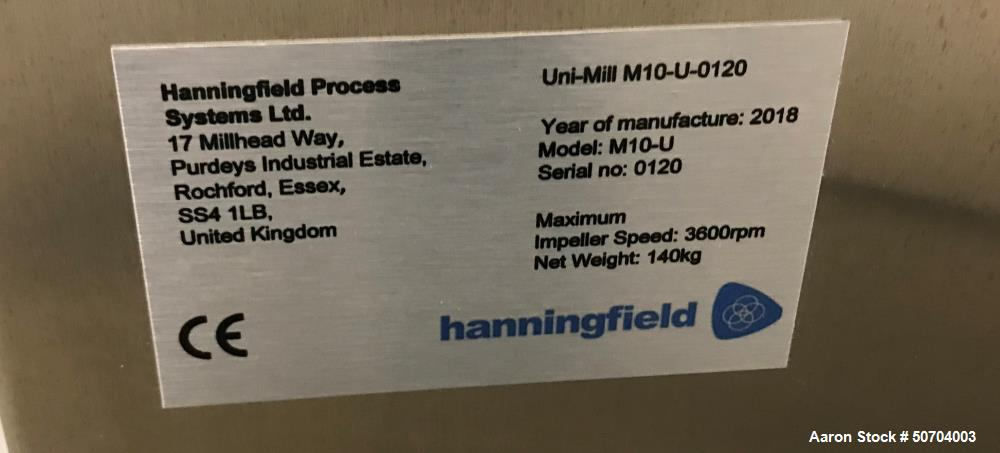 Used- Hanningfield Uni-Mill Conical Mill, Model M05-U