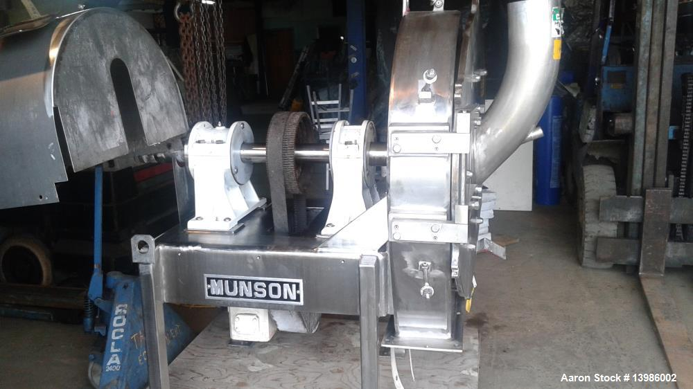Used- Munson Attrition Mill, Model SK-30-SS. Stainless steel. 7.5 hp motor, 460 volt, 3 phase, 60 cycle. No controls
