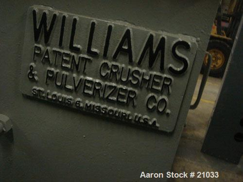 """USED Williams 18"""" x 20"""" hammermill, carbon steel. 40 flat swing hammers 3"""" wide x 8"""" long x 5/8"""" thick. 4 rows, 10 per row."""