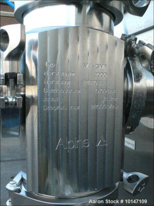 Used-Hosokawa Alpine 100-AFG Fluidized Bed Opposed Jet Mill, Pharma M4-GMP, stainless steel construction.Rotor size diameter...