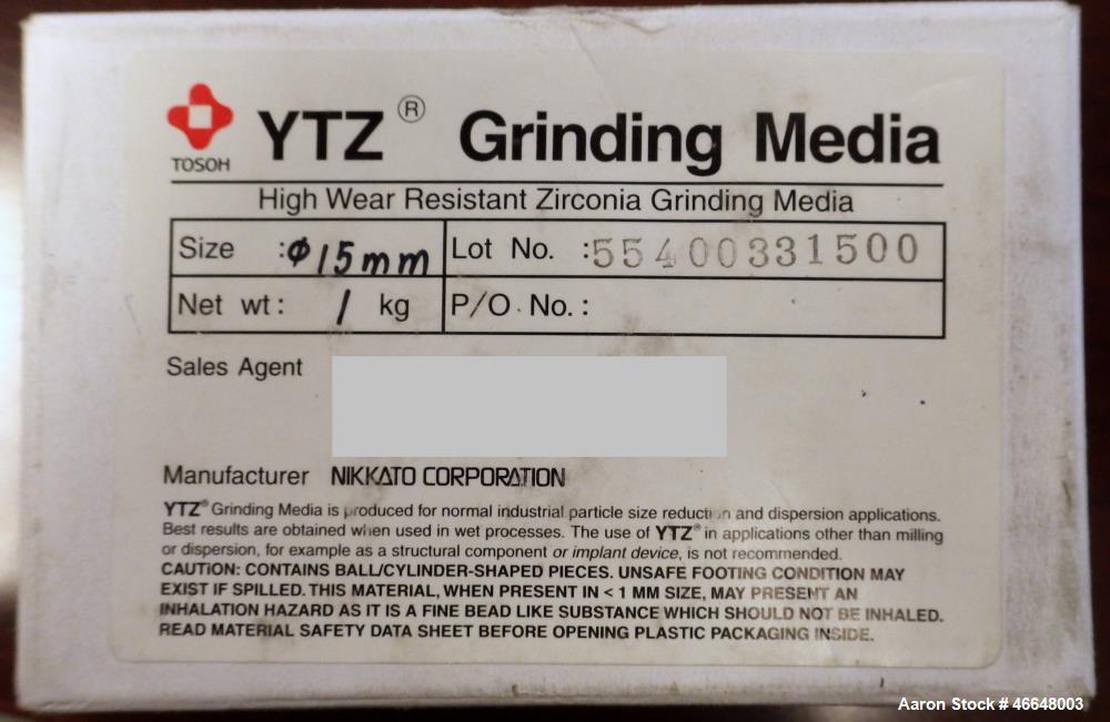 Used- Nikkato Corporation YTZ High Wear Resistant Zirconia Grinding Media