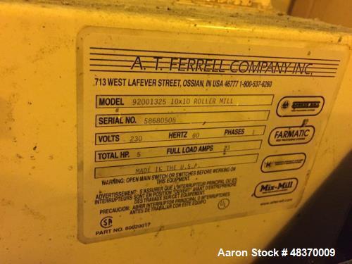 Used- A.T. Ferrel Company Inc.10x10 Roller Mill, Model 92001325