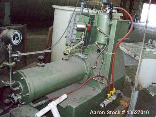 Used-Netzsch horizontal media mill, model LME-20. 20 liter grinding chamber with grinding discs and DCMS (dynamic cartridge ...