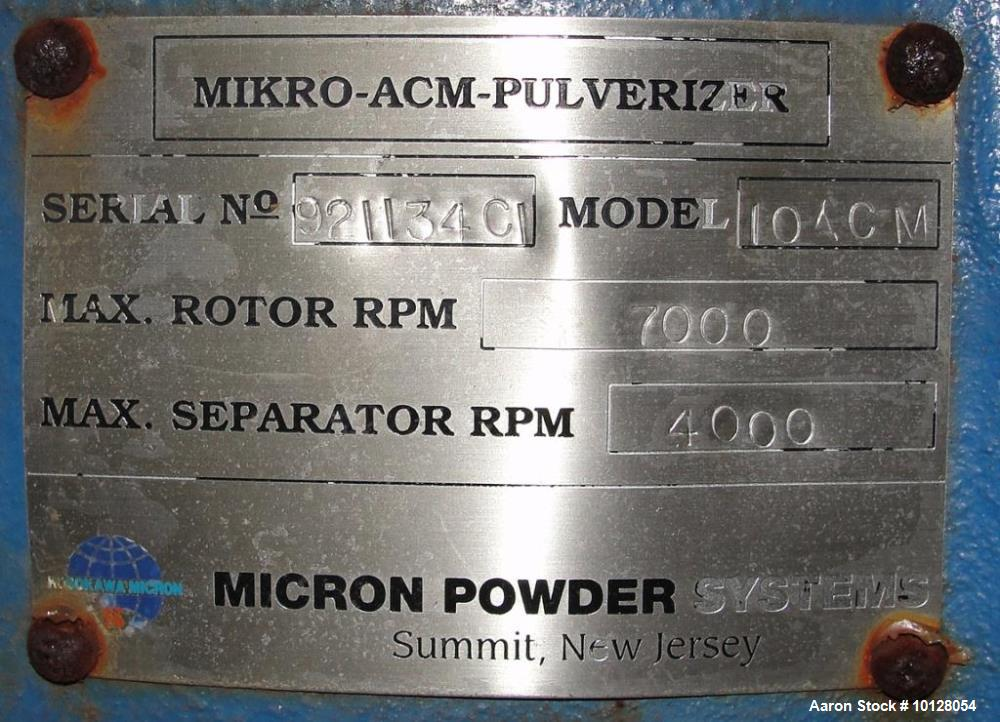 Used- Hosokawa/Mikro Pulverizer Air Classifying Mill (ACM), Model 10ACM