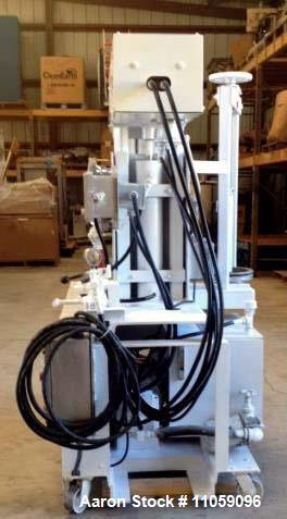 "Used- Myers Triple Shaft Mixer/Disperser, Model HVL 550/500-7.5-1242. Approximately 4 gallon, 10.5"" diameter x 12"" deep. Jac..."