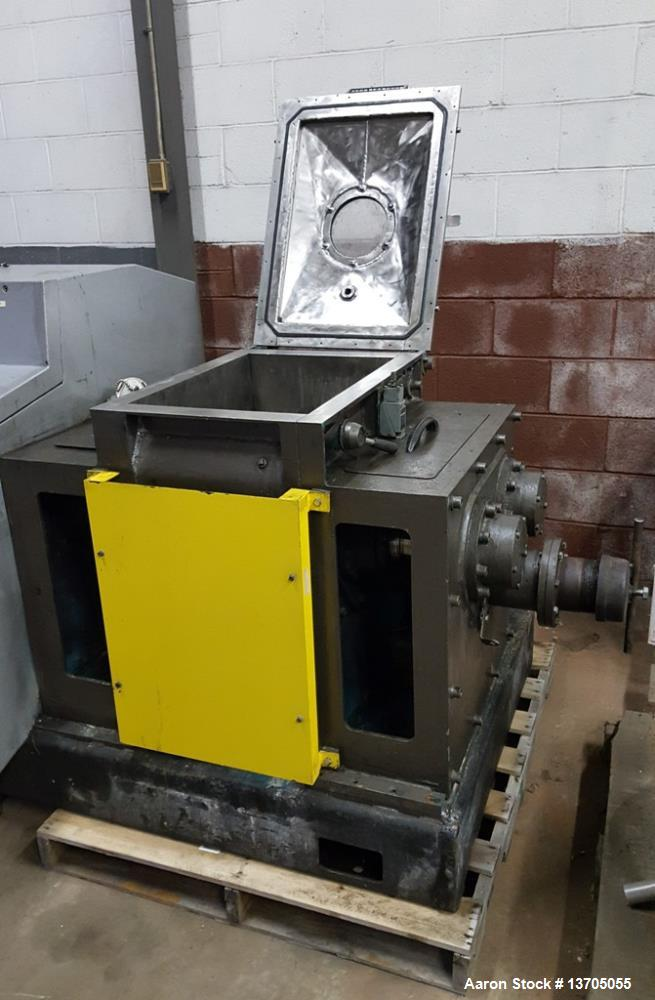 Used- 15 Gallon Jacketed, Vacuum, Sigma Blade Mixer/ Extruder. S/S Groupe Lautrette (RPA Process) Model MBD-90/60 Jacketed, ...