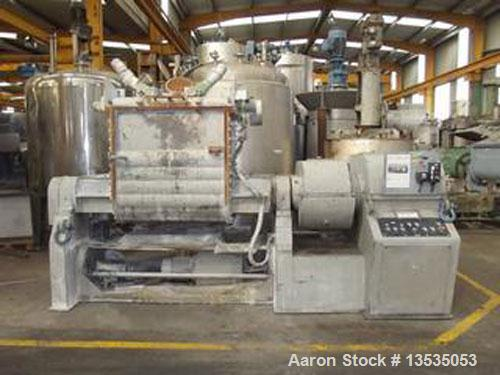 Used-AMK Double Arm Mixer, steel construction.  Total volume 264 gallons (1000 liters).  Two arms Loher Z, two speeds 40 and...