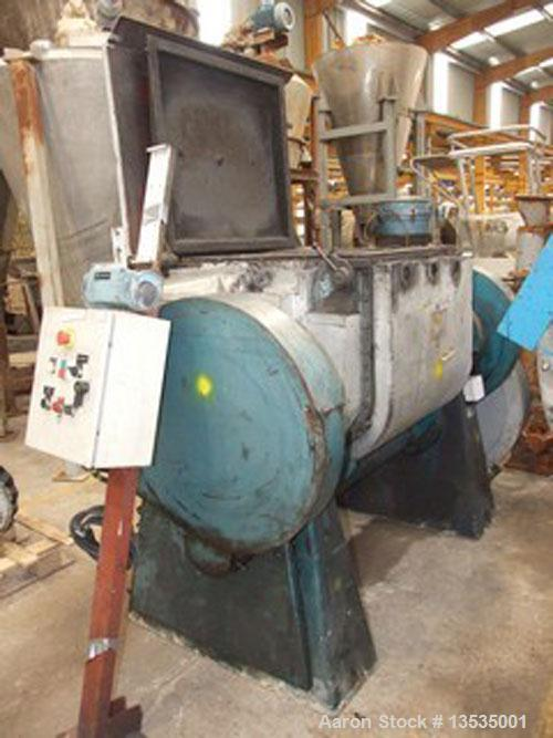 Used-Guittard M58 double arm sigma blade mixer, working capacity 250 liters (66 gallons), 11 kW (15 hp) motor and double env...