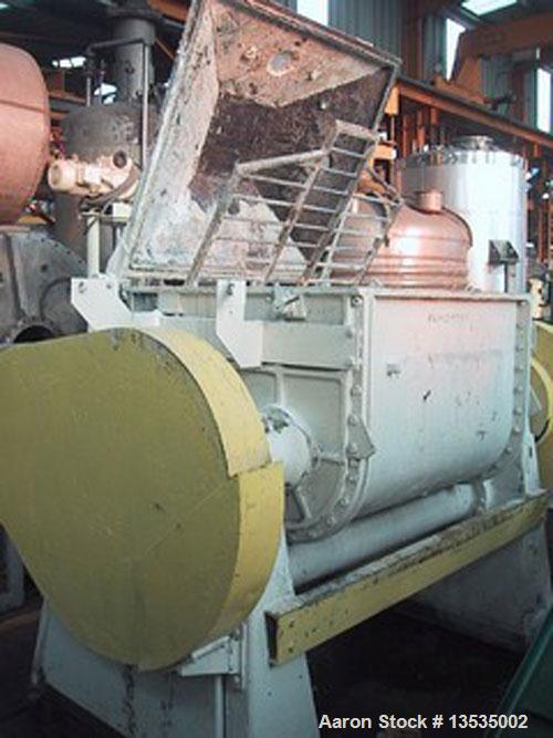 Used-Guittard M58 double arm sigma blade mixer, working capacity 750 liters (198 gallons), 56 kW (75 hp) motor and double en...