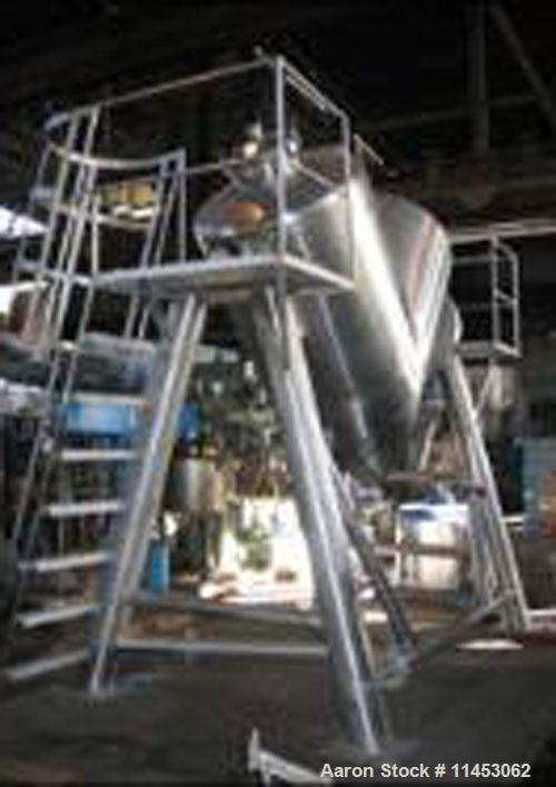 """Unused-O'Hara twin shell blender, 60 cubic foot, stainless steel construction, 20"""" feed ports with covers, stainless steel s..."""