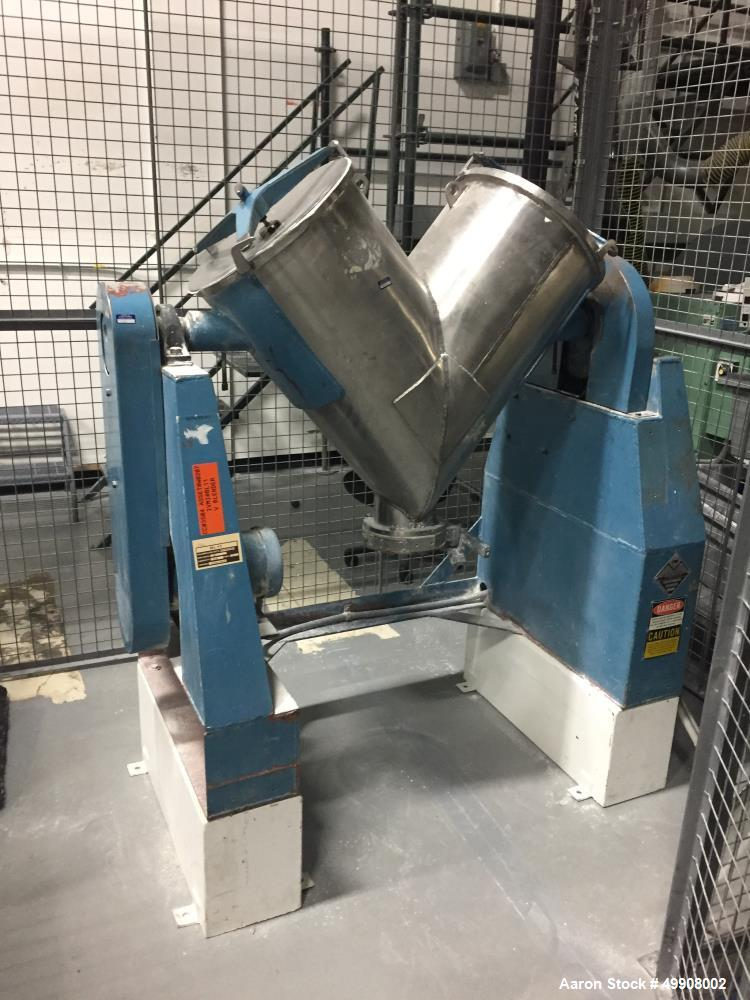 Used- Patterson-Kelley Twin Shell Dry Blender, 3 Cubic Foot Capacity, Stainless Steel. 60 Pounds per Cubic Foot Maximum Mate...