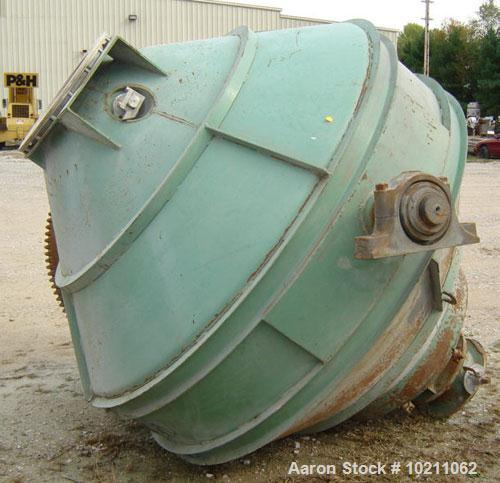 "Used-Gemco 7' Diameter X 7' Double Cone Batch Blender, Carbon Steel Construction. Approximately 7' diameter and 90"" tall. Ma..."