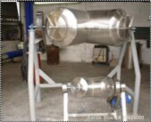Used-New Hydratec 10 Cubic Foot Twin Shell Blender. 316L stainless steel, sanitary finish, 2 hp drive, rotating rpm 20, supp...