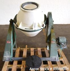 Used- Paul O. Abbe Double Cone Blender. Plastic Barrel, Frac Motor.  Mounted on a Carbon Steel Stand.  Serial  # A22078.  .
