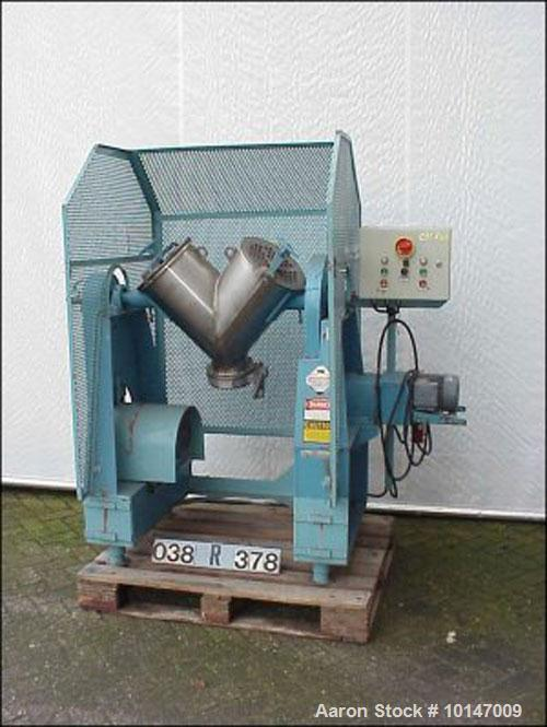 Used- Stainless Steel Patterson Kelley V-Type Tumbler Mixer, 12 gallon capacity