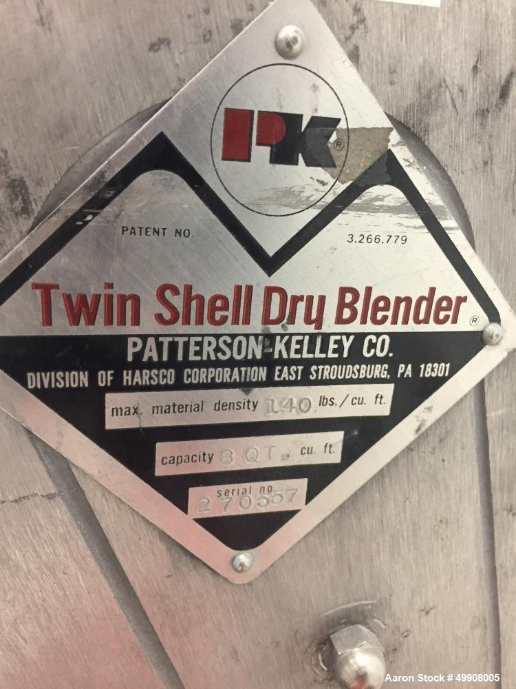 Used- Patterson-Kelley Twin Shell Dry V-Blender, 8 Quart Capacity