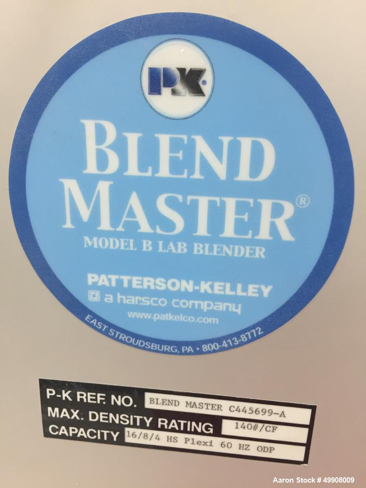 Used- Patterson-Kelley Blend Master Lab V-Blender, 16, 8, and 4 Quart Capacity