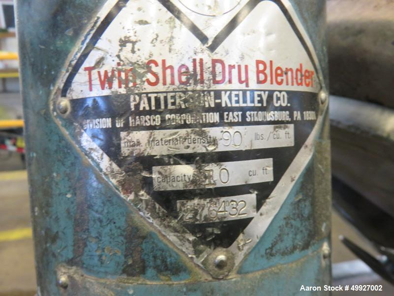 Used- Patterson Kelley Twin Shell Dry Blender, 10 Cubic Feet, Stainless Steel.