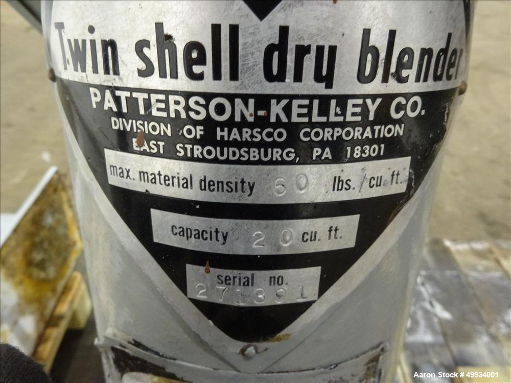 Used- Patterson-Kelley Twin Shell Dry Blender, 20 Cubic Feet Capacity,