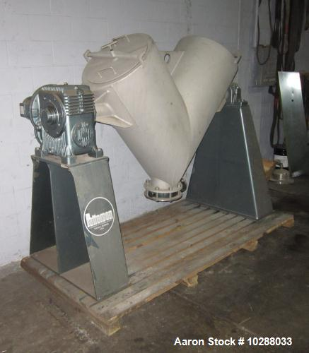 Used-Patterson 10 Cubic Foot Twin Shell V-Blender rated for 65 lbs per cubic foot, stainless steel contact parts.  Painted f...