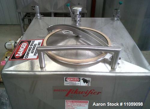 Used- Breddo 400 Gallon Likwifier/Liquefier, Model LDT-400. 316 S/S. Mounted on load cells. CIP Spray Ball; Last used in Foo...