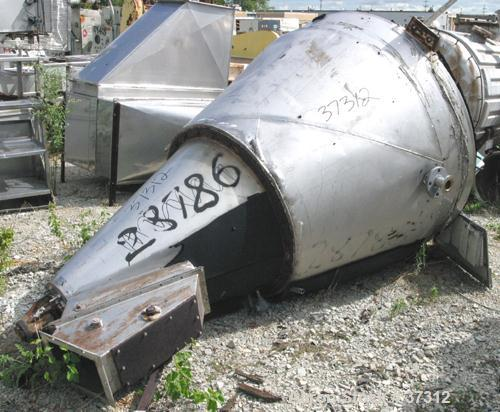 """Used- Nauta Mixer, ModelMBX 350, 304 Stainless Steel. 35 Cubic feet, 55"""" diameter x 84"""" straight side. Jacket top portion (w..."""