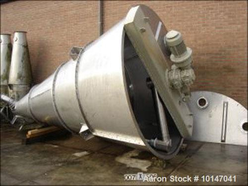 Used-Vrieco Zelhem 80 RV-3 Conical Mixer, stainless steel, capacity 282.5 cubic feet (8000 liters). Largest cone diameter 13...